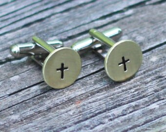 Cross Cuff Links, Hand Stamped Cufflinks, Gift Idea For Him
