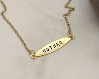 Mother Necklace, Personalized Bar Necklace, Hand Stamped, Gift Idea For Mom