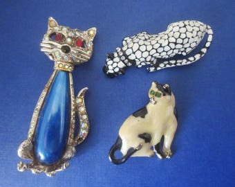 Vintage Cat Brooches DeStash lot of three vintage brooches