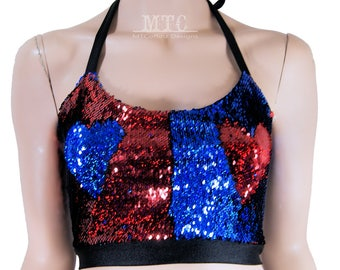 Color Shifting Red Blue Sequin Rave Festival Halter Top - Adult XS - Small - MTCoffinz - Ready to Ship