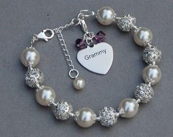 Grammy Gift, Birthstone Grammy Bracelet, Gran Jewelry, Grandmother Gift, Grammy Jewelry, Grandma Gift, Best Grammy, Grandma Birthday