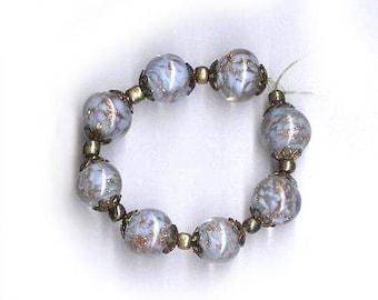 vintage art glass beads PERIWINKLE blue round EIGHT MURANO glass 7 to 8mm glass aventurine beads murano glass antique beads