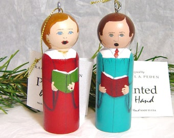 CHOIR Ornament Hand Painted Male or Female, choice of 3 robe colors