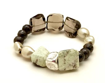 Smoky Quartz Luxe  Boho Chic Beaded  Bracelet, Citron Chrysoprase  Gemstone Boutique Wearable Art, for her Under 400, OOAK, US Free Shipping