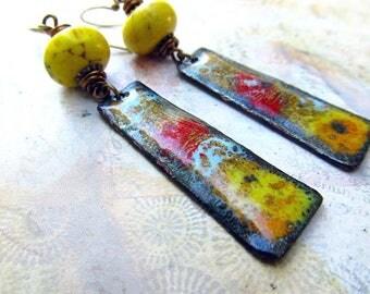 Boho earrings Yellow earrings Enamel earrings Bohemian jewelry Enamel jewelry
