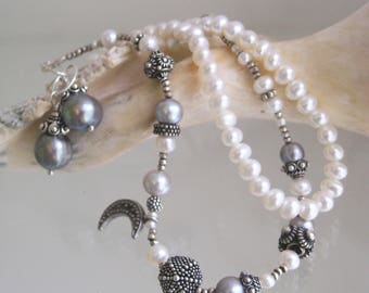Pearl and Sterling Beaded Bracelets, Celestial Set, Moon and Stars Layering Bracelets, Beach and Bridal Jewelry, Monochromatic