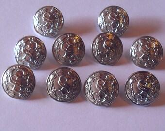 10 Large Silver Letter S Uniform Buttons