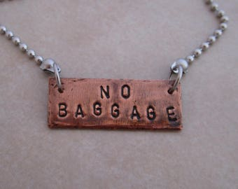 no baggage stainless steel oxidized copper necklace