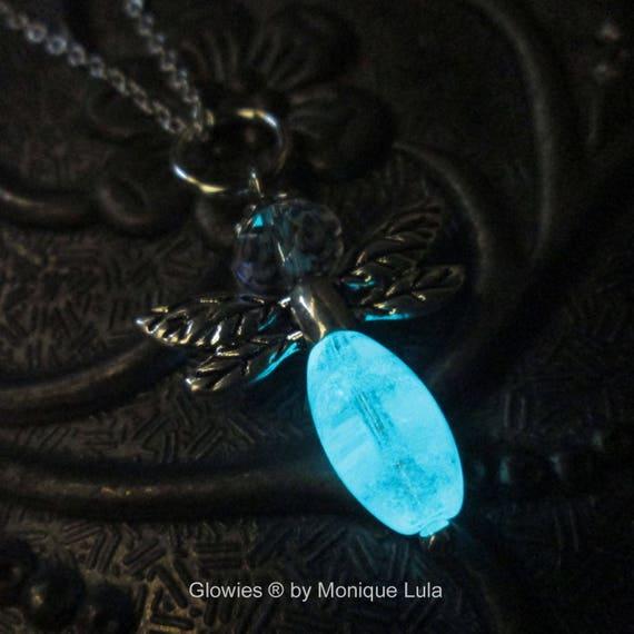 Handmade Glow Glass Firefly Necklace Fireflies