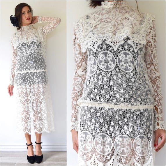 SUMMER SALE / 20% off Vintage 80s does 20s White Lace Dropped Waist Midi Dress (size medium, large)