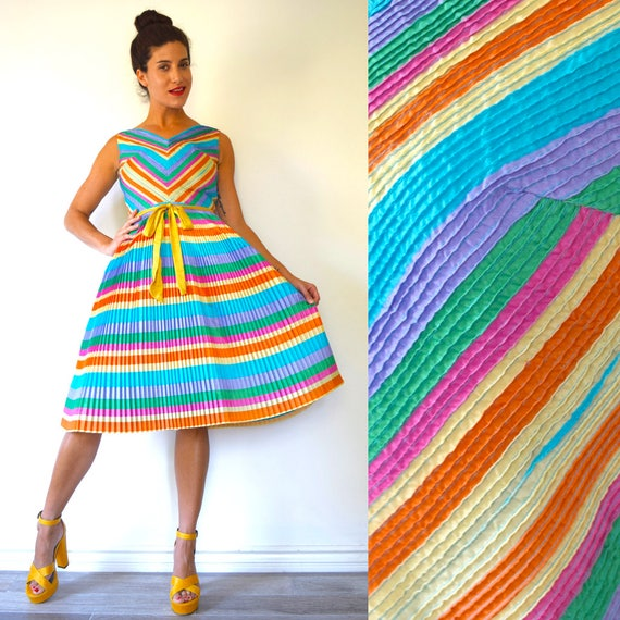 Vintage 60s Multicolored Chevron Striped Accordion Pleated Fit and Flare Party Dress with Pin Tucked Bodice (size xs, small)