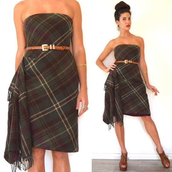Vintage 90s Ralph Lauren Rugby Tartan Plaid Wool Strapless Pencil Mini Dress (size small, medium)