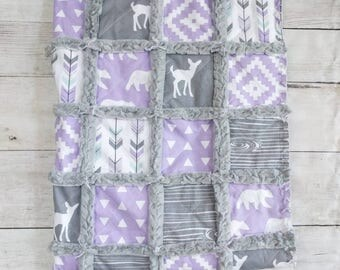 Woodland Crib Quilt for Baby Girl - Purple Crib Bedding with Deer, Arrows, & Bear Prints -Lilac and Gray Baby Bedding - Woodland Nursery