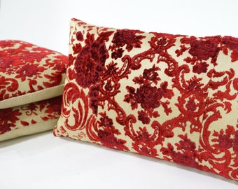 Red Cut Velvet Lumbar Pillow, Vintage Fabric Cushion Cover, Cottage Chic Home Decor Handmade by EllaOsix