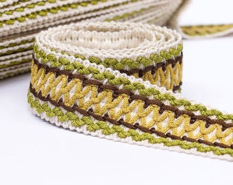 Vintage French Passementerie trim by the yard - Home decor trim - 4cm wide braid trim - upholstery trim - woven trim - pillow trim