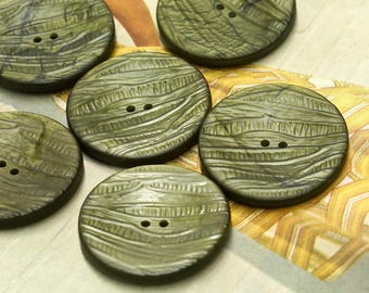6 Large Green Vintage Buttons 40mm - 1 9/16 -  Coat Buttons - Sewing Buttons - Craft Buttons - Sew Trough Buttons
