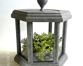 Zinc Gray Curio Display Box & Lid, Hexagonal 6-Sided Wooden Glass Case Painted Wood