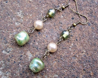 Eco-Friendly Dangle Earrings - Ethereal - Trios of Recycled Vintage Glass Beads and Pearls in Ivory and Soft, Pale Green for Pierced Ears
