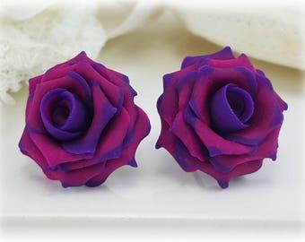 Purple Tip Pink Rose Earrings Stud or Clip On
