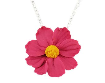 Cosmos Flower Necklace - Cosmos Jewelry, Pink Flower Jewelry, Pink Cosmos