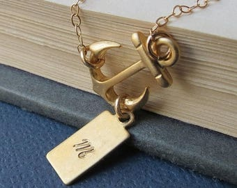 ON SALE Personalized Sideways Anchor Necklace, Gold Fill Chain, Friendship, Sister, Lovely Gift, Gold Jewelry, Gold Anchor Necklace
