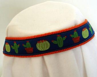 Saguaro Cactus - Medium to Large Dog Collar - 1 Inch Wide - Adjustable Between 14-23 Inches - Cactus Ribbon - Sonoran Desert - READY TO SHIP