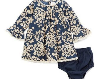 Cherry blossom dress in navy size 9 - 12 months