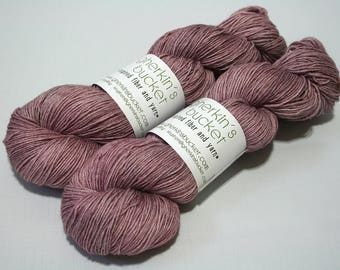 "Hand Painted Artisan Yarn, ""Jam Sandwich"" colorway (#81517), COTTON/SW Merino Wool Yarn, Cotton Sheep Sock"