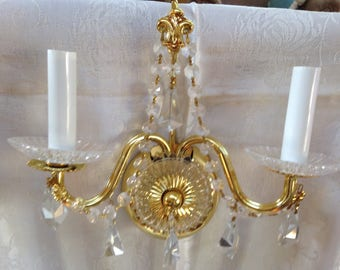 Vintage Schonbek1870 Strass Wall Bracket Swags Gold & Crystals 2 Lights Each NEW