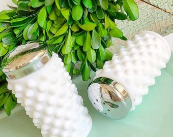 Salt and Pepper is Here... Vintage White Hobnail Milk Glass Salt and Pepper Shakers Farmhouse Decor Kitchenware