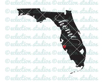 Florida SVG, Home SVG, State svg, State of Florida silhouette with home and city heart cut file, commercial use, svg, dxf, eps, png, jpg