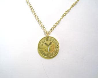 Coin necklace~Vintage NY subway token pendant