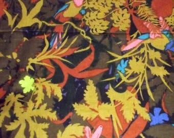 """Vintage COHAMA VAT Garden of Eden Tropical Print Home Decor Fabric 52"""" X 50"""" BOLD"""