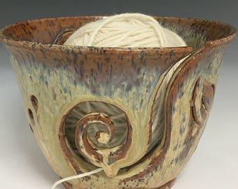Yarn Bowl  Leaf Yarn Bowl  Knitting Bowl  Ceramic Yarn Bowl  Handmade Yarn Bowl  Beiwn Gold and Green Yarn Bowl