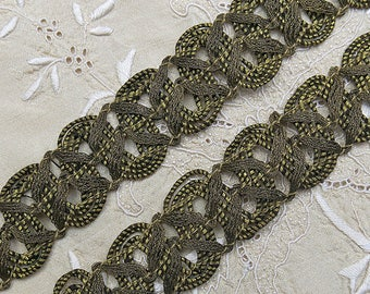 """Vintage Antique Gold Metallic Passementerie Trim, Metal Old Gold Scroll, Loop Braid Yardage, Rich Patina ... 28 Inches Long, 1"""" Wide"""