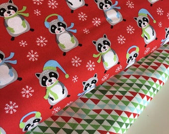 Christmas fabric, Racoon fabric, nursery Decor, novelty fabric, Fabric Bundle of 2, Choose The Cuts