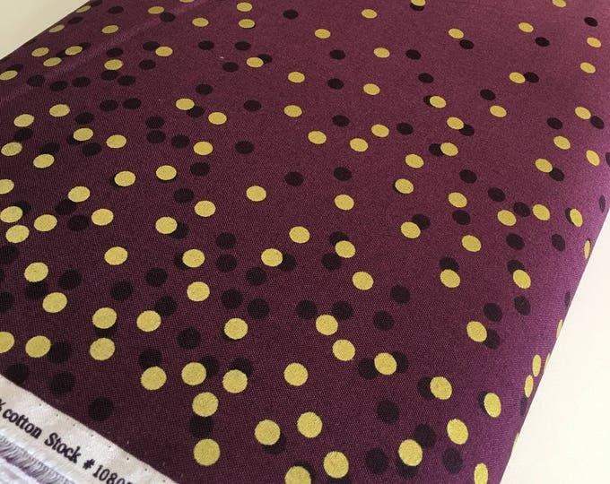 Ombre Confetti fabric by Vanessa Christenson, Gold Metallic Decor, Wedding fabric, Quilting, Ombre Confetti in Plum, Choose The Cut