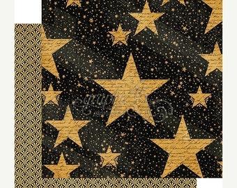 SPRING Graphic 45 Vintage Hollywood Star Studded Scrapbook Paper