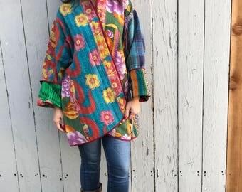 Reversible cotton kantha kimono/jacket