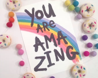"""Illustration Print -You Are Amazing A4/8x10"""""""