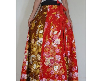 Handmade 8 Pieces floral Thai batik Sarong patchwork long comfortable  wear wrap skirt fit all size (BT05)