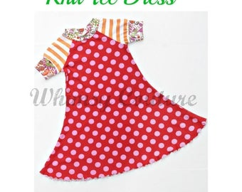 SALE Girls Dress Pattern -- Knit Tee Dress -- short and long sleeves with ruffle option 2t - 10 girls PDF Instant