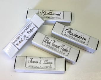 Solid Perfume Sticks Hand Crafted Travel Fragrance Lot of 4 Popular Scents Boxed