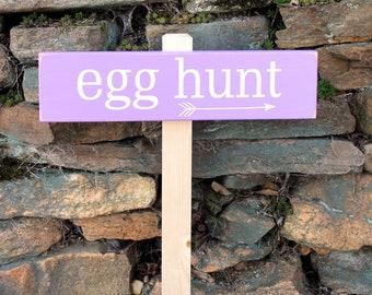 Egg Hunt Garden Sign Easter Decor Easter Bunny Yard Sign