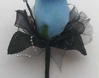 Azure Blue Silk Rose Boutonnière