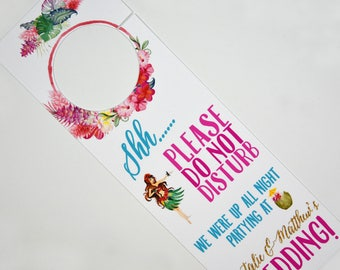 "Hawaiian Tiki Tropical Beach Wedding/Destination Wedding Sign/Welcome Bag - Wedding ""Do Not Distrub"" Door Hanger"