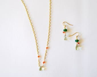Small Pendant Necklace / Simple Modern Smooth Green Amethyst Triangle Pendant 14k Gold Filled Chain Necklace Earring Set Carnelian Gemstones