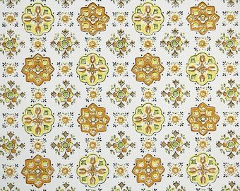 1960s Vintage Wallpaper by the Yard - Yellow and Orange Retro Geometric on White