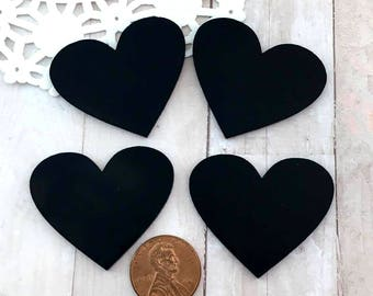 SOLID BLACK HEARTS - Cut Outs - Laser Cut Acrylic - Cabochons - Flat Back