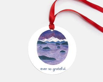 Ever So Grateful Ornament / Metal Ornament / Ocean Ornament / Pacific Northwest Ornament / Cascadia Ornament / Thank You Gifts / Puget Sound